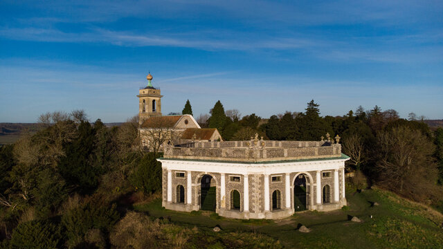 Church and mausoleum at West Wycombe, Buckinghamshire, home of the Dashwood family