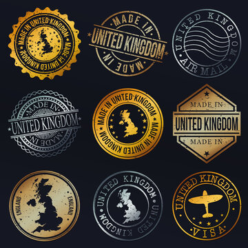 United Kingdom Map Metal Stamps. Gold Made In Product Seal. National Logo Icon. Symbol Design Insignia Country.