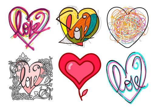 Hand drawn different Graphic Style colored Hearts - set 3