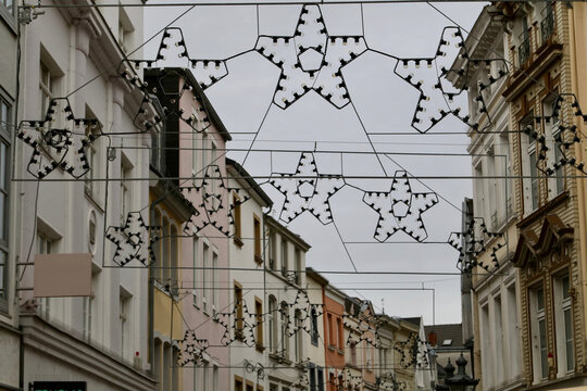 Bonn - switched off Christmas decoration during lockdown on second pandemic wave