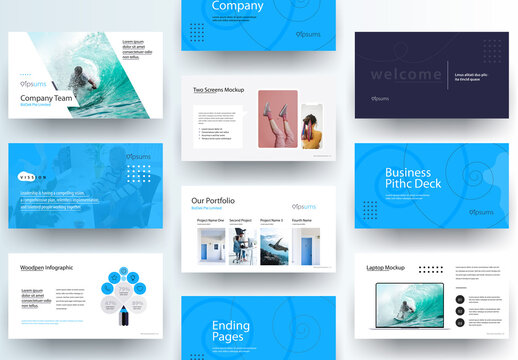 Business Pitch Deck Presentation Laout with Blue Accents