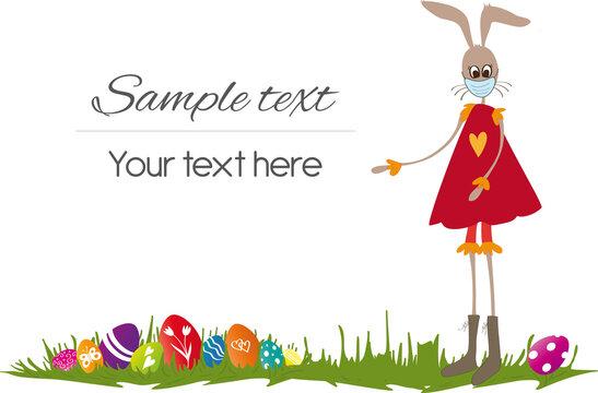 Frohe Ostern Osterhasenfrau mit Corona-Maske und Ostereiern