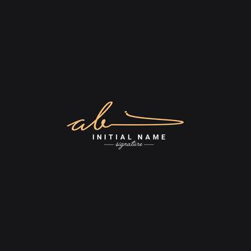 Initial Letter AB Logo - Handwritten Signature Logo