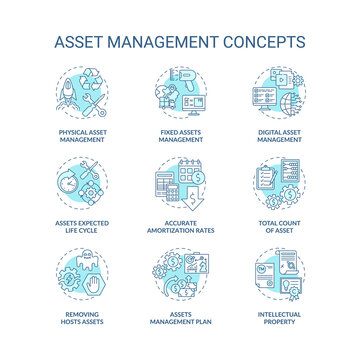 Asset management concept icons set. Investments managing idea thin line RGB color illustrations. Digital and physical management. Total asset count. Vector isolated outline drawings. Editable stroke
