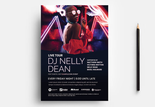 Nightclub Flyer with Blue Red Neon Background Atmospheric Light Overlay