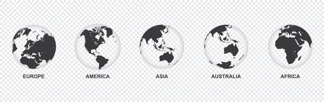 set of transparent Earth globe icon with 5 hemispheres continents Europe America Asia Australia Africa. world map in globe shape isolated on transparent background. vector illustration