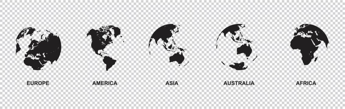 set of Earth globe icon with 5 hemispheres continents Europe America Asia Australia Africa. world map in globe shape isolated on transparent background. vector illustration
