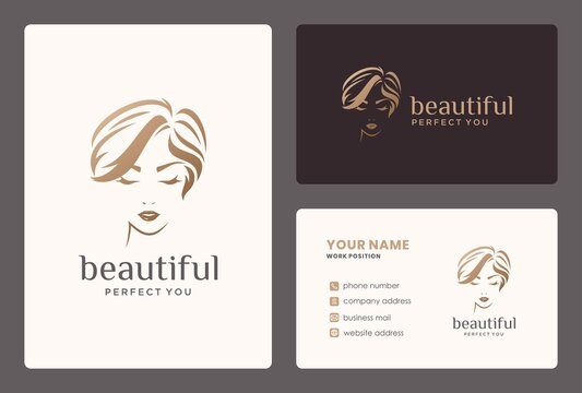 women logo design and business card for beauty salon, hair stylist, makeover.