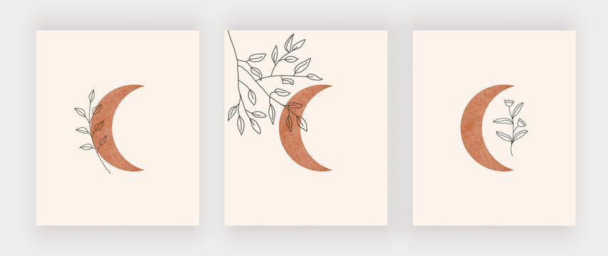 Moon with leaves wall art print. Boho mid century design posters
