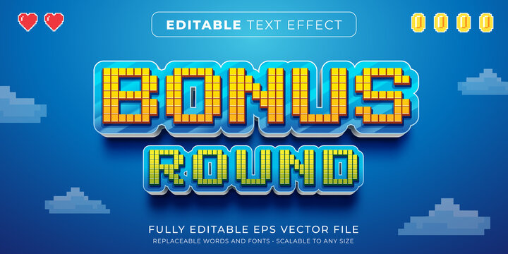 Editable text effect in arcade pixel game style