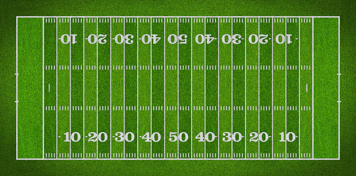 top view of standard yard size layout empty american football sport field with real green realistic grass and copy space. Team sports recreation background