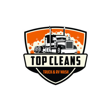 Top cleans truck wash illustration vector
