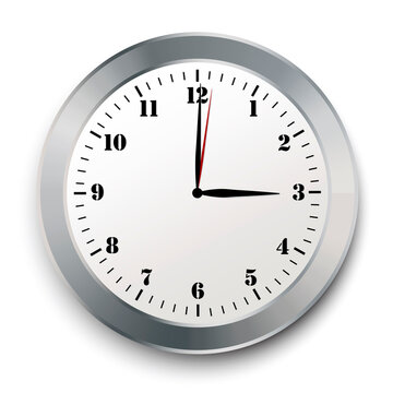 Modern realistic wall clock on white background. Clock icon vector. Time icon symbol illustration. Stock image. EPS 10.