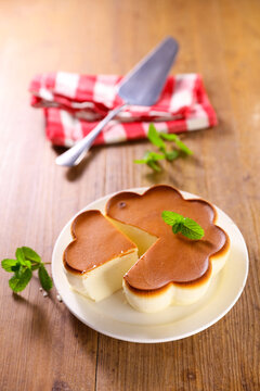 cheesecake on wood background- top view