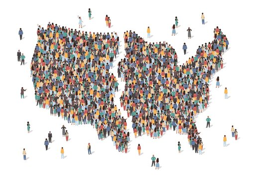Map of United States of America divided in two parts. Split in US politics concept vector illustration. USA map made of many people, large crowd shape. Group of people stay in formation.