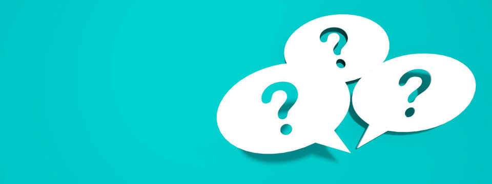 Q&A Question mark business concept banner. Asking the right questions.
