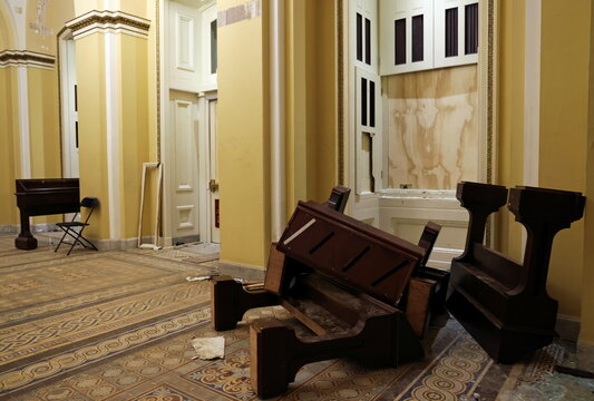 Furniture litter a hallway after supporters of U.S. President Donald Trump occupied the U.S. Capitol Building, in Washington