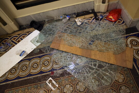 Debris litters the floor after supporters of U.S. President Donald Trump occupied the U.S. Capitol Building, in Washington