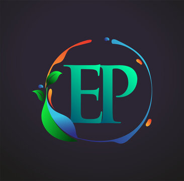 Initial Letter EP With nature elements Logo, colorful nature and environment logo. vector logo for business and company identity.