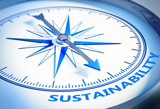 Silver and blue compass with needle pointing to the word sustainability - 3D illustration