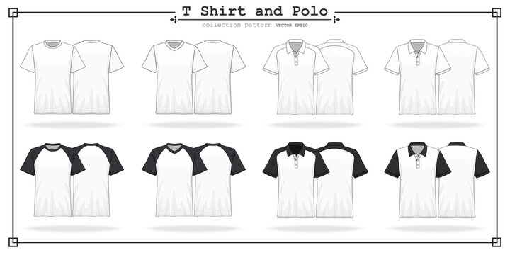 T Shirt round and v neck with Polo collar and sleeves collection set for design , mockup advertising , blank for printing , vector illustration eps10