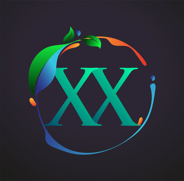 Initial Letter XX With nature elements Logo, colorful nature and environment logo. vector logo for business and company identity.