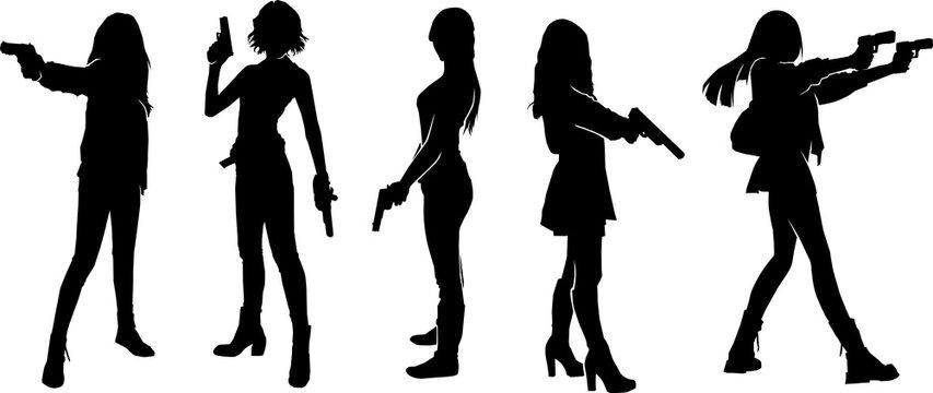 female standing holding gun silhouette