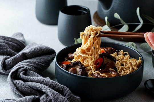 asian noodles soup with Shiitake, hot spicy soup