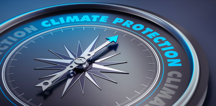 Dark compass with needle pointing to the words climate protection  - 3D Illustration