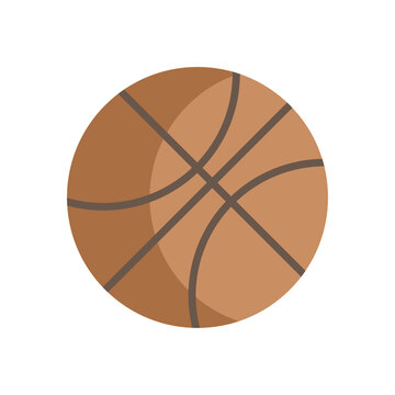 Basketball with shadow flat design graphic vector clipart illustration or icon isolated