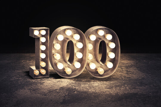 number 100  in bulb lights