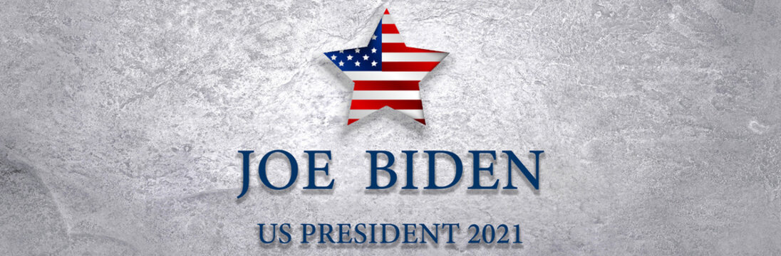 Joe Biden president - US elections on the national flag of the United States. 2021