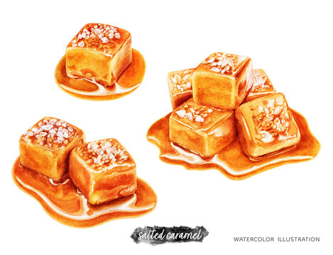 Salted caramel composition set watercolor illustration isolated on white background
