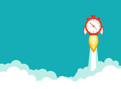 red stopwatch rocket ship with fire and sky with clouds. Fast time stop watch, limited offer, deadline symbol.