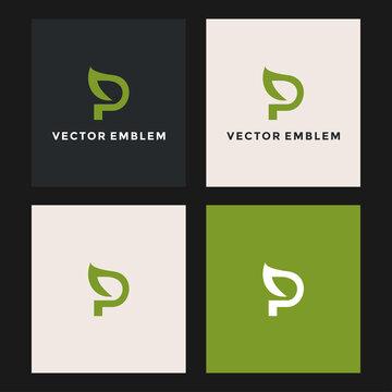 letter p leaf logo vector design template