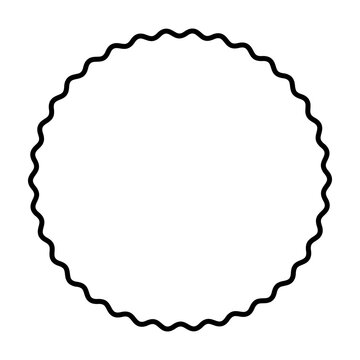 One bold wavy line forming a black circle frame. Circle frame, made by a black serpentine line. Snake-like circular frame, a decorative surround. Isolated illustration on white background. Vector.
