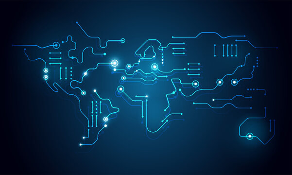High tech abstract technology background - world map circuit board shape - vector