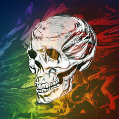 abstract colored skull with paint splashes isolated on black background