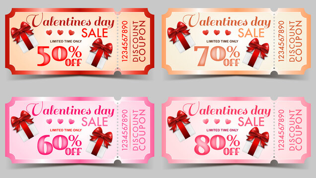 Set of Valentines Day big sale tickets coupons