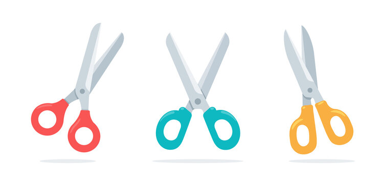 Cartoon collection scissors paper cut in various colors Isolated on white background