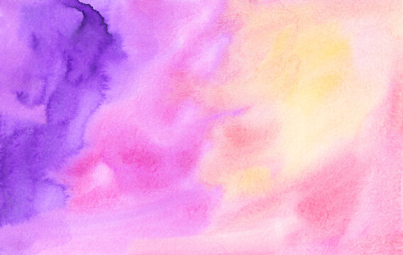 Watercolor light pink, yellow, purple background texture. Colorful artistic liquid backdrop, hand painted