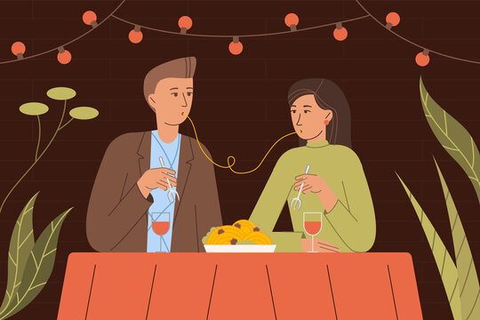 Vector illustration of people in love having dinner in a romantic setting