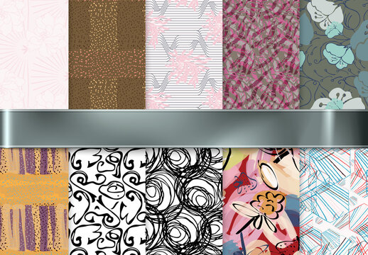 Seamless Pattern Collection with Hand Drawn Abstract Strokes and Floral Elements