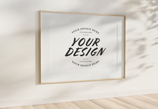 Wood Frame Hanging on Wall Mockup