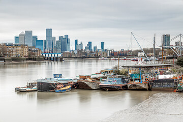 A long exposure view of Canary Wharf, a business quarter of London Wall mural