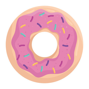 sweet donut icon design, food and dessert theme Vector illustration