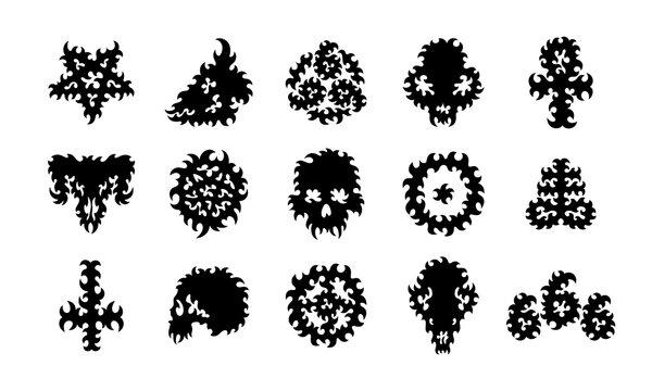 Vector set of satanic, occult, pagan, alchemical symbols (Pentagram, Leviathan Cross, 666 number of the beast, Sun cross, Ankh, cross of Saint Peter, Circled dot), human and animal skulls.