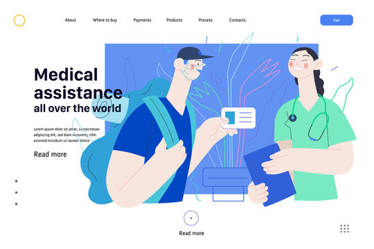 Medical insurance web page template -medical assistance all over the world -modern flat vector concept digital illustration -traveller applying to local clinic for medical help, part of insurance plan