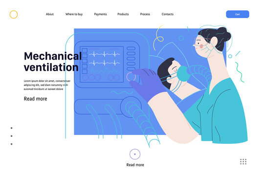 Medical insurance web page template- mechanical ventilation -modern flat vector concept digital illustration -ventilator medical machine equipment for tracheostomy, patient breathing in operating room