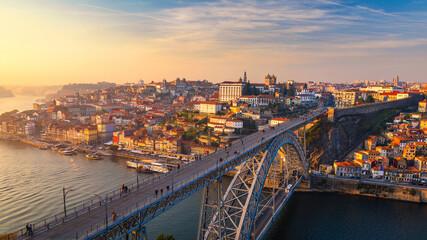 Fototapeta Scenic view of the Porto Old Town pier architecture over Duoro river in Porto, Portugal